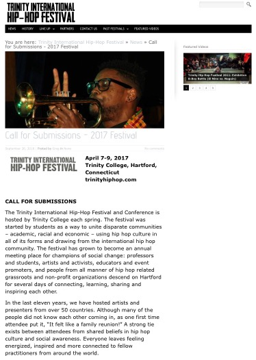 Trinity International Hip-Hop Festival | Call for Submissions – 2017 Festival